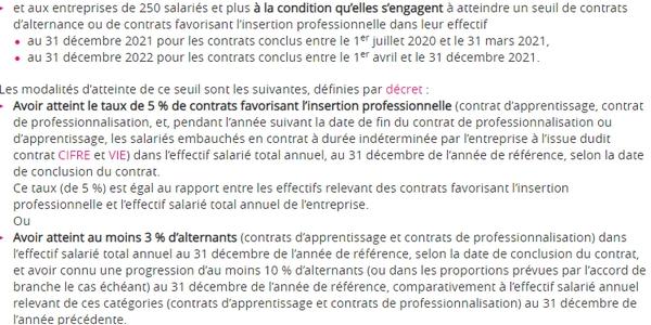 Pour profiter des aides exceptionnelles à l'embauche en alternance, les entreprises de 250 salariés et plus doivent s'engager à atteindre un certain seuil de contrats d'alternance ou de contrats favorisant l'insertion professionnelle dans leur effectif.